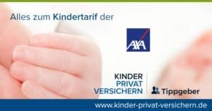 Das Bild zeigt neben dem Logo (Markenzeichen) der AXA die Hand eines Babys