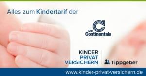 Das Bild zeigt das Markenzeichen der Continentale sowie die Hand eines Babys