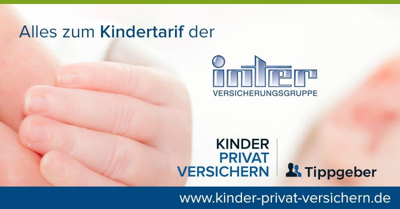 Markenzeichen (Logo) der Inter Krankenversicherung zusammen mit der Hand eines Babys